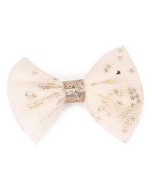 Babyhug Bow Shape Hair Clip With Sequin Stars - Cream Golden