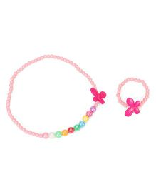 Babyhug Necklace & Bracelet Set With Butterfly Design - Light Pink