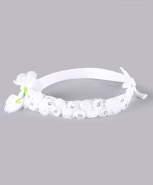 Babyhug Elasticated Rosette Applique Headband With Bow - White