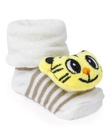 Cute Walk by Babyhug Socks Shoes Tiger Face Motif - Cream & Yellow