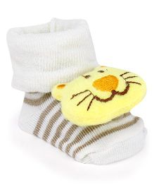 Cute Walk by Babyhug Socks Shoes Kitty Face Motif - Cream & Yellow