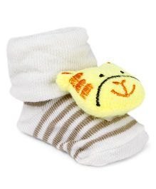 Cute Walk by Babyhug Socks Shoes Animal Face Motif - Cream & Yellow