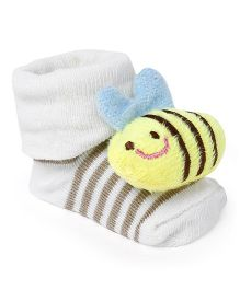 Cute Walk by Babyhug Socks Shoes Honeybee Motif - Cream & Yellow