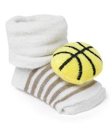 Cute Walk by Babyhug Socks Shoes Sports Ball Motif - Cream & Yellow