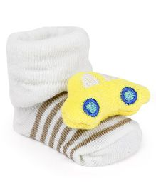 Cute Walk by Babyhug Socks Shoes Vehicle Motif - Cream & Yellow