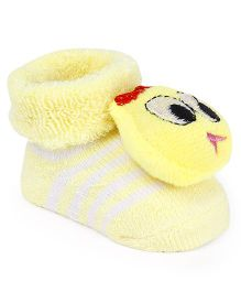 Cute Walk by Babyhug Socks Shoes Bird Face Motif - Yellow