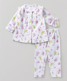 Zero Full Sleeves Night Suit Floral And Print Pajama - White & Green