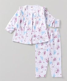 Zero Full Sleeves Night Suit Floral And Print Pajama - White & Blue