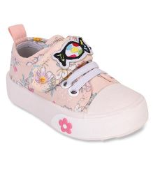 Cute Walk by Babyhug Canvas Shoes Floral Print - Peach