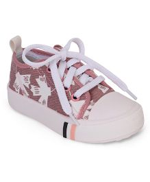 Cute Walk by Babyhug Lace Tie-Up Canvas Shoes - Pink & White
