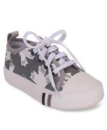 Cute Walk by Babyhug Lace Tie-Up Canvas Shoes - Grey & White