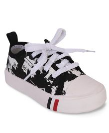 Cute Walk by Babyhug Lace Tie-Up Canvas Shoes - Black & White