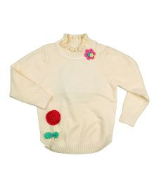 One Friday Flower Embriodery Sweater - Off White