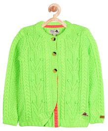 Cherry Crumble California Cable Knit Fairy Tale Cardigan - Green