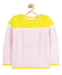 Cherry Crumble California Bright Sunny Cable Knit Sweater - Pink & Yellow