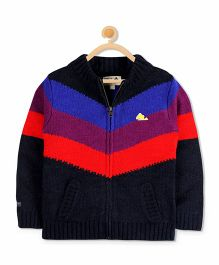 Cherry Crumble California Zip Through Sweater - Black