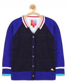 Cherry Crumble California V Neck Color Block Cardigan - Blue