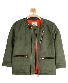 Cherry Crumble California Vintage Suede Jacket - Olive Green