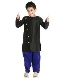 Little Pockets Store Sherwani With Bead Work - Black