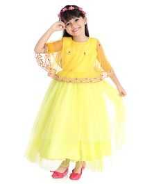 Little Pockets Store Embroidered Cape Gown - Yellow