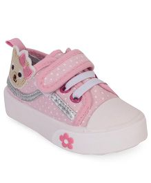 Cute Walk by Babyhug Shoes Bear Patch - Pink And White