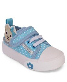 Cute Walk by Babyhug Shoes Bear Patch - Blue And White