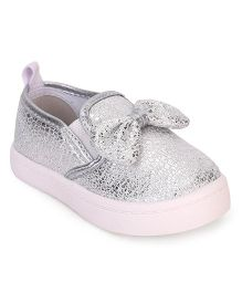 Cute Walk by Babyhug Party Wear Slip On Shoes Bow Applique - Silver