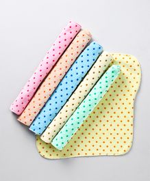 Babyhug Terry Face Napkins Polka Dots Print Pack of 6 - Multi Color