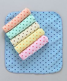 Babyhug Terry Face Napkins Star Print Pack of 6 - Multi Color