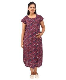 Mamma's Maternity Short Sleeves Dress Floral Print - Maroon