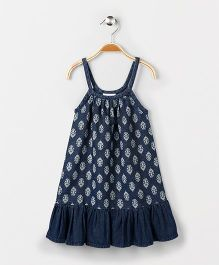 Eimoie Girls Printed Casual Dress - Indigo