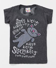 Eimoie Kitty Printed Tee & Pants Night Suit Set - Grey