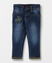 Tonyboy Washed Full Length Elastic Waist Jeans With Pockets - Indigo