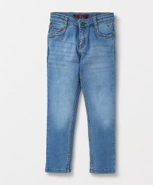 Tonyboy Full Length Elastic Waist Jeans With Pockets - Blue