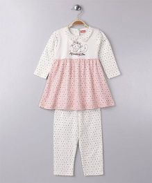 Babyhug Full Sleeves Frock Style Tee And Leggings Kitty Embroidery - Off White Peach