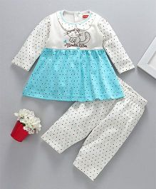 Babyhug Full Sleeves Frock Style Tee And Leggings Kitty Embroidery - White Blue