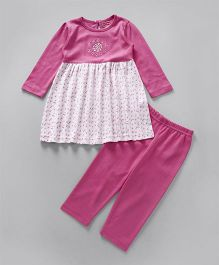 Babyhug Full Sleeves Frock Style Top With Leggings - Pink White