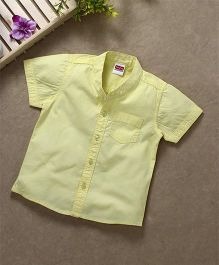 Babyhug Half Sleeves Mandarin Collar Solid Shirt - Yellow