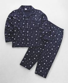 Teddy Full Sleeves Night Suit Alphabet Print - Navy
