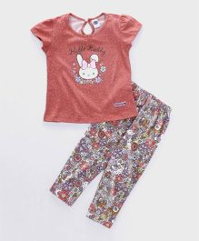Teddy Short Sleeves Capri Night Suit Hello Rabby Print - Peach & Multi Color