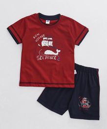 Teddy Half Sleeves T-Shirt And Shorts Set Sea Prince Print - Red