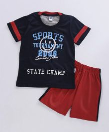 Teddy Half Sleeves T-Shirt And Shorts Set State Champ Print - Navy