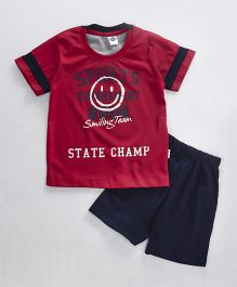 Teddy Half Sleeves T-Shirt And Shorts Set State Champ Print - Red