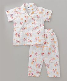 Teddy Half Sleeves Night Suit All Over Print - White & Brown