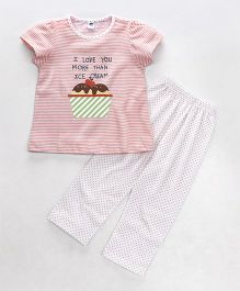Teddy Half Sleeves Night Suit Stripes & Ice Cream Print - Peach & White