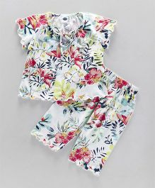 Teddy Half Sleeves Night Suit Floral Print - Multi Color