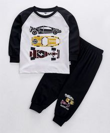 Teddy Full Sleeves T-Shirt And Lounge Pant Racing Car Print - Black