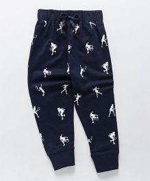 Doreme Full Length Printed Lounge Pants - Navy Blue