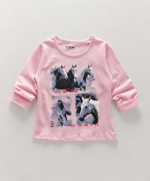 Doreme Full Sleeves Tee Horse Printed - Light Pink