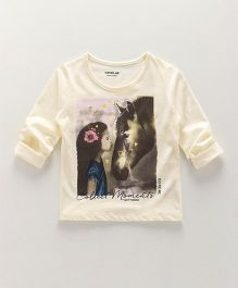 Doreme Full Sleeves Tee Horse Printed - Cream